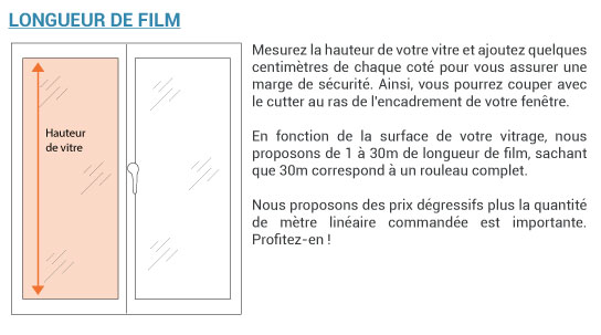 Pop up longueur de film vitre
