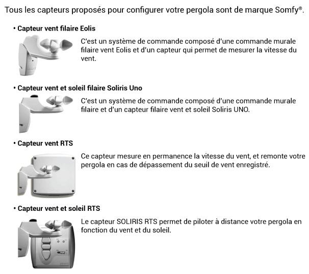 Pop up qui présente l'ensemble des capteurs proposées pour la pergola toile alu enroulable sur mesure