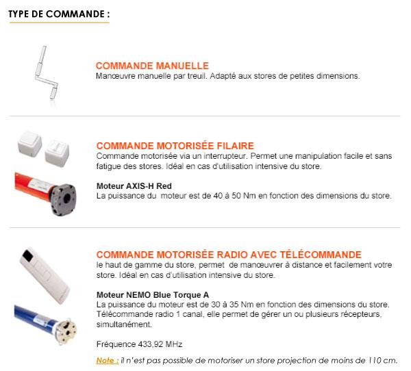 Types de commandes disponibles pour les stores projections