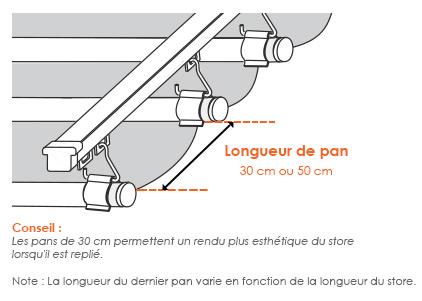 Longueur de pan d'un store vélum sur mesure