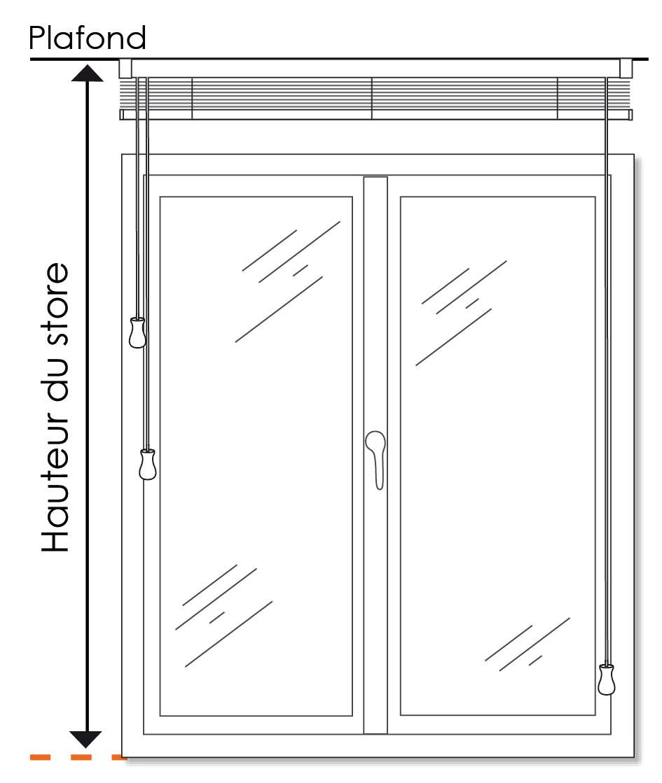 Store v nitien bois sur mesure lames 25 ou 50 mm stores - Hauteur minimum plafond ...